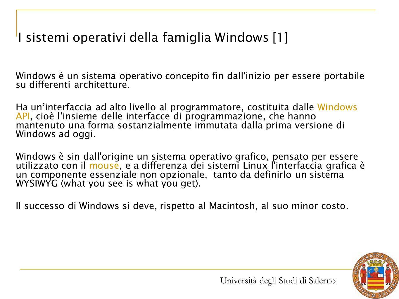 I sistemi operativi della famiglia Windows [1]